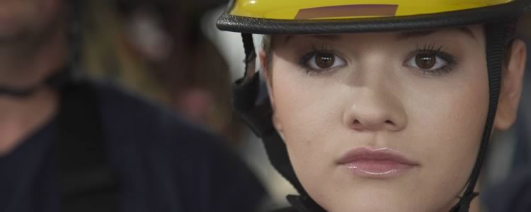 Screenshot of aspiring firefighter from the Wayne Community College commercials.