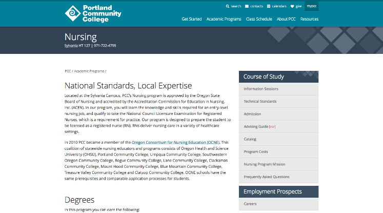 Nursing Program Page Example from Portland Community College