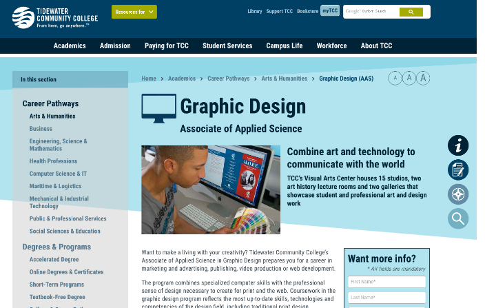 Graphic Design Program Page Example from Tidewater Community College