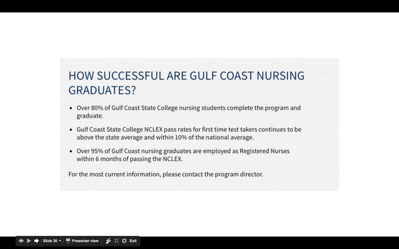 Outcomes Summary on Gulf Coast State College Nursing Page