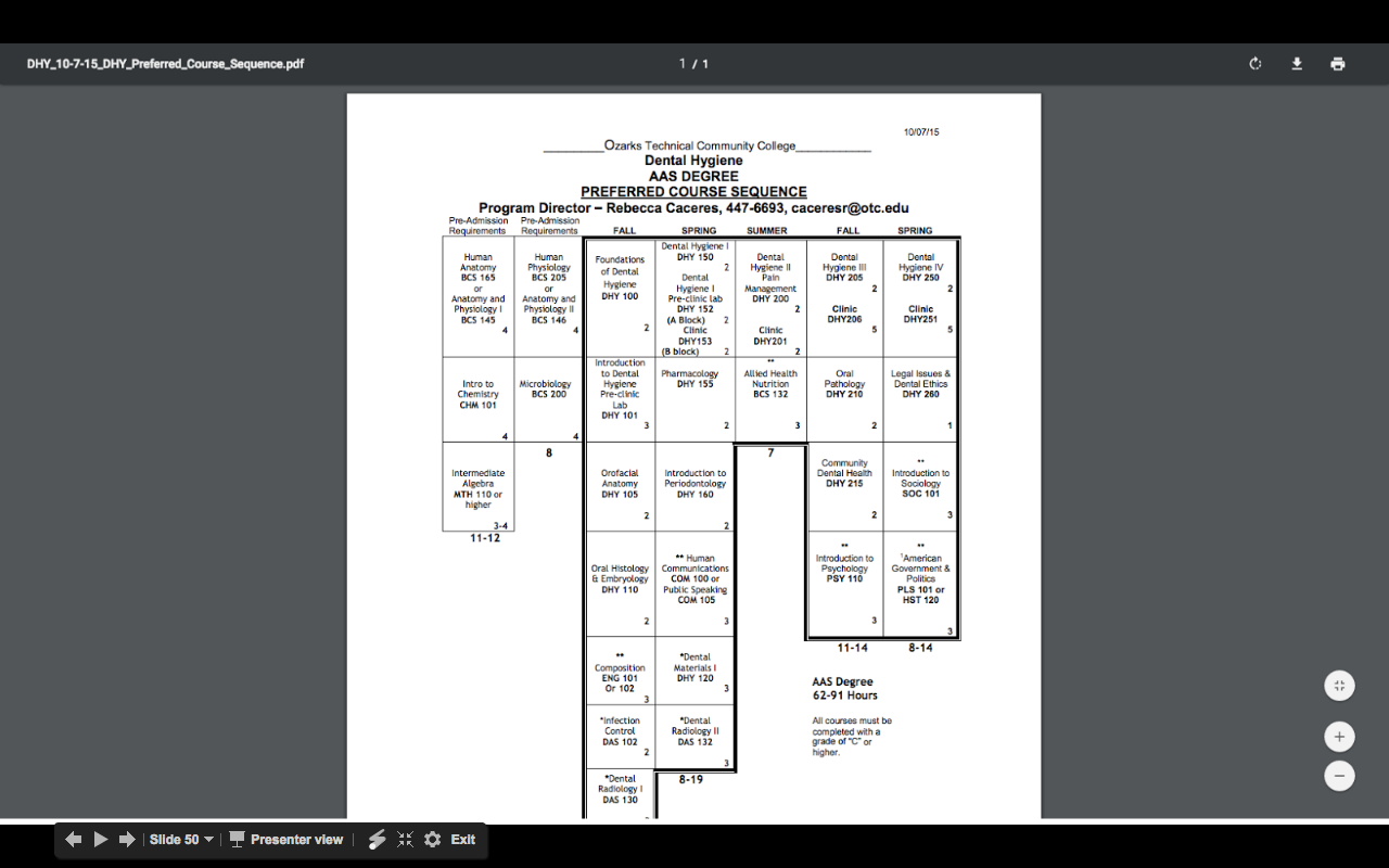 Example of a PDF Course Sequence