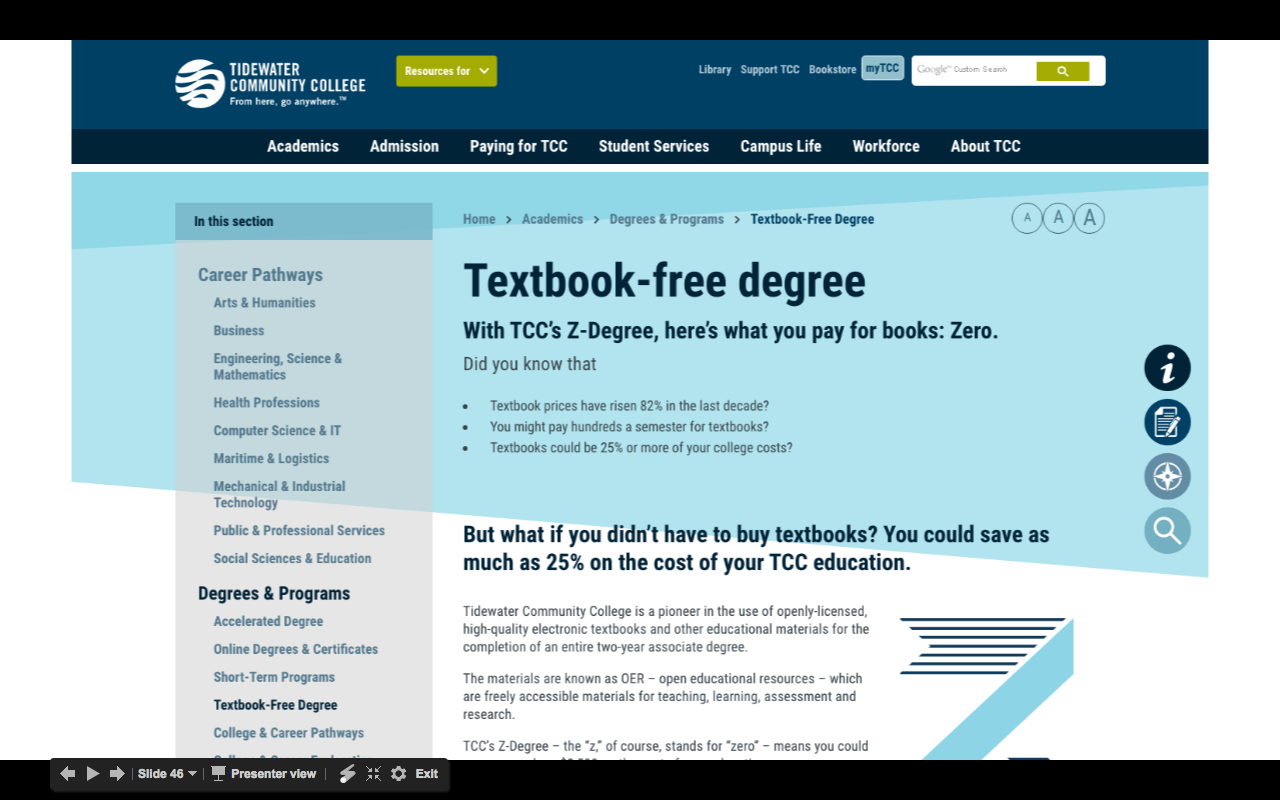 Screenshot of Tidewater Community College's OER Program
