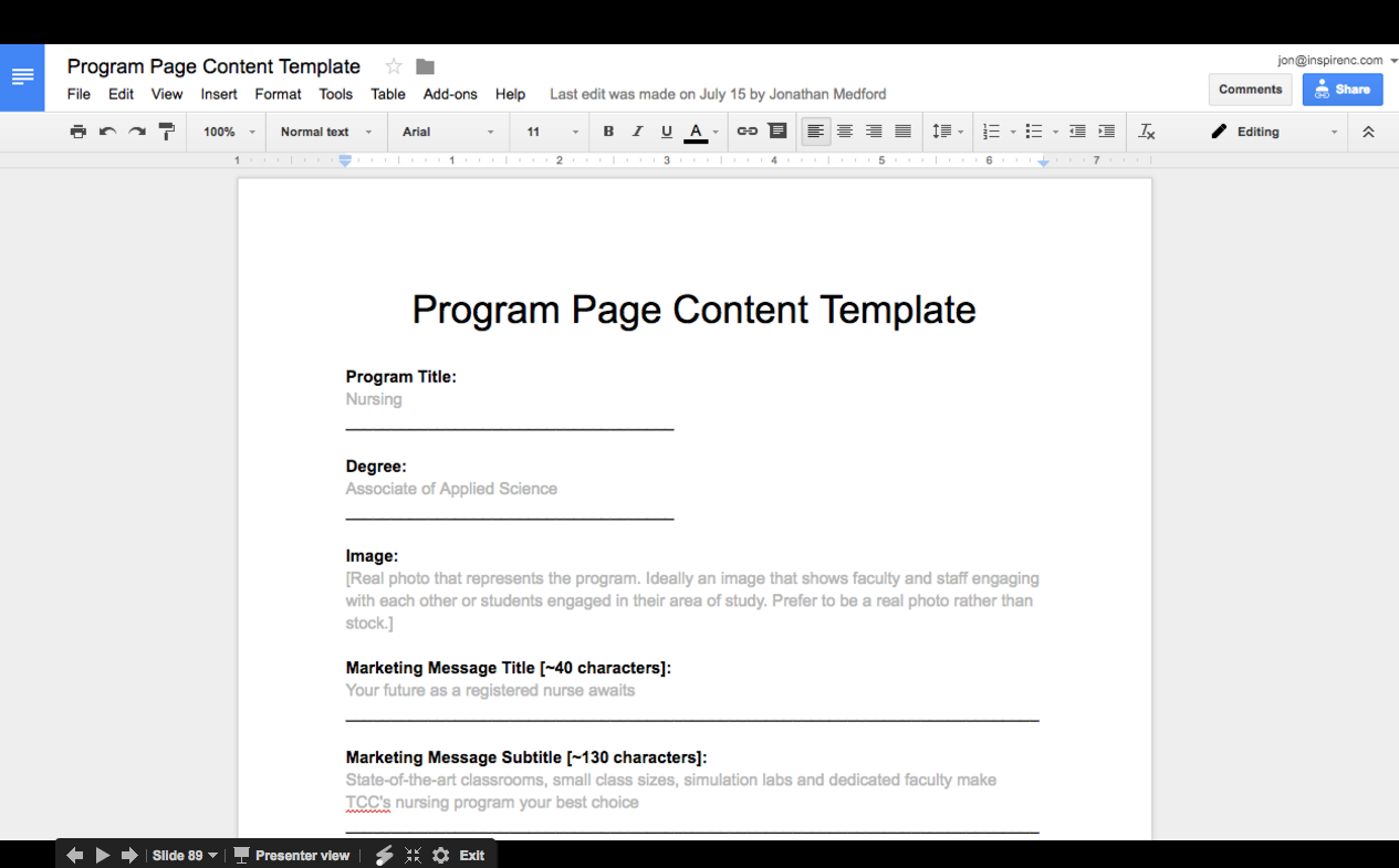Program Page Google Doc Template